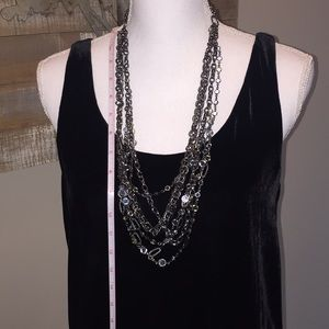 Talbots dark pewter multiple strand with jewels
